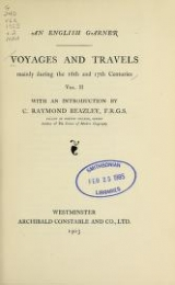 Cover of Voyages and travels mainly during the 16th and 17th centuries