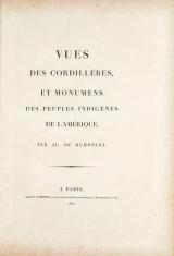 Cover of Vues des Cordillères, et monumens des peuples indigènes de l'Amérique