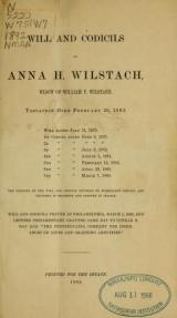Cover of Will and codicils of Anna H. Wilstach, widow of William P. Wilstach