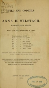 Cover of Will and codicils of Anna H. Wilstach, widow of William P. Wilstach