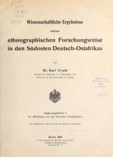 Cover of Wissenschaftliche Ergebnisse meiner ethnographischen Forschungsreise in den Südosten Deutsch-Ostafrikas