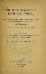 Cover of The wonders of the invisible world