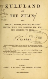 Cover of Zululand and the Zulus