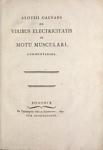 """Cover of """"Aloysii Galvani De viribus electricitatis in motu musculari commentarius"""""""