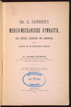 """Cover of """"Dr. [i.e. Doktor] G. Zander's medico-mechanische Gymnastik"""""""