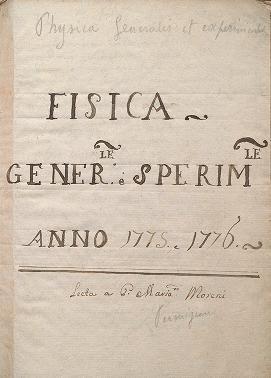 """Cover of """"Fisica gener[a]le e sperim[enta]le"""""""
