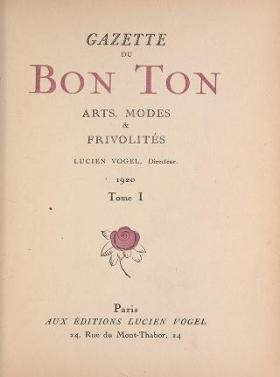 "Cover of ""Gazette du bon ton"""