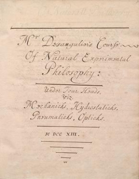 "Cover of ""Mr. Desaugulier's Course of natural experimental philosophy"""