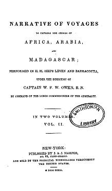 """Cover of """"Narrative of voyages to explore the shores of Africa, Arabia, and Madagascar"""""""