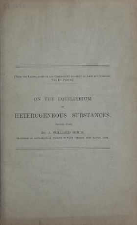 "Cover of ""On the equilibrium of heterogeneous substances : first [-second] part /"""