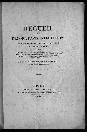"""Cover of """"Recueil des décorations intérieures"""""""
