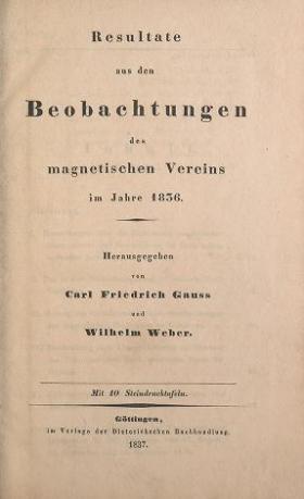 """Cover of """"Resultate aus den Beobachtungen des Magnetischen Vereins im Jahre"""""""