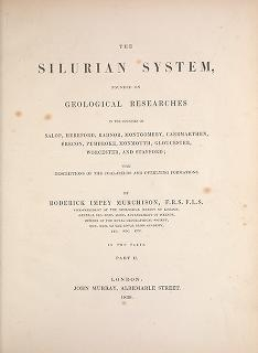 "Cover of ""The Silurian system, founded on geological researches in the counties of Salop, Hereford, Radnor, Montgomery, Caermarthen, Brecon, Pembroke, Monmouth,"""