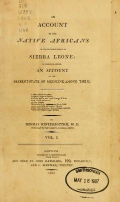 "Cover of ""An account of the native Africans in the neighbourhood of Sierra Leone"""