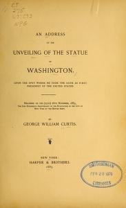 """Cover of """"An address at the unveiling of the statue of Washington"""""""
