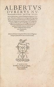 """Cover of """"Albertus Durerus Nurembergensis pictor huius aetatis celeberrimus, versus è Germanica lingua in Latinam, pictoribus, fabris aerariis ac lignariis, la"""""""