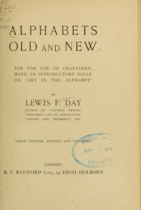 "Cover of ""Alphabets old and new, for the use of craftsmen"""