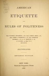 """Cover of """"American etiquette and rules of politeness /"""""""