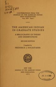 Cover of The American Indian in graduate studies