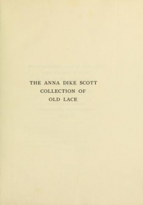 "Cover of ""Anna Dike Scott collection of old lace"""