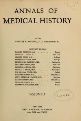 """Cover of """"Annals of medical history"""""""