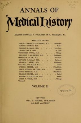 "Cover of ""Annals of medical history"""