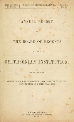 "Cover of ""Annual report of the Board of Regents of the Smithsonian Institution"""