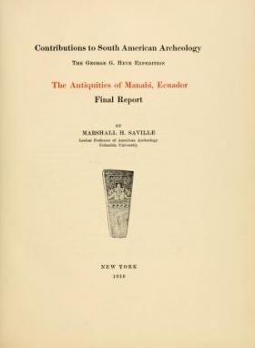 """Cover of """"The antiquities of Manabi, Ecuador"""""""