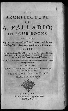 """Cover of """"The architecture of A. Palladio, in four books"""""""