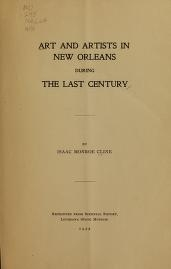 """Cover of """"Art and artists in New Orleans during the last century"""""""