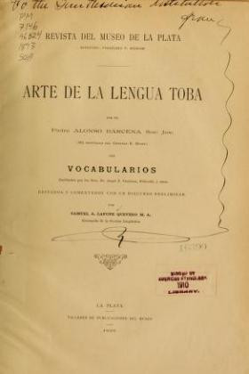 "Cover of ""Arte de la lengua toba"""