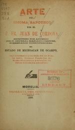 """Cover of """"Arte del idioma zapoteco"""""""