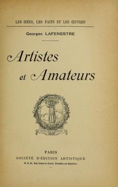 """Cover of """"Artistes et amateurs"""""""