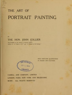 """Cover of """"The art of portrait painting"""""""