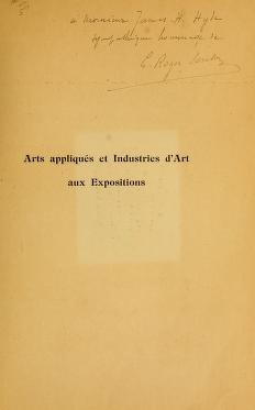 "Cover of ""Arts appliqués et industries d'art aux expositions"""