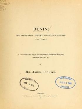 """Cover of """"Benin"""""""
