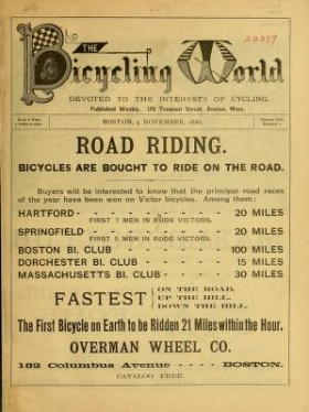 """Cover of """"The bicycling world"""""""