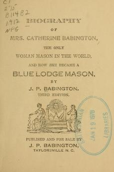 """Cover of """"Biography of Mrs. Catherine Babington"""""""
