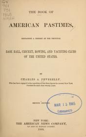 """Cover of """"The book of American pastimes"""""""