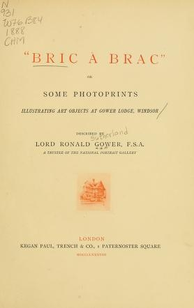"Cover of """"Bric à brac"", or, Some photoprints illustrating art objects at Gower Lodge, Windsor /"""