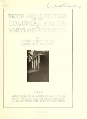 "Cover of ""Brick architecture of the colonial period in Maryland & Virginia"""
