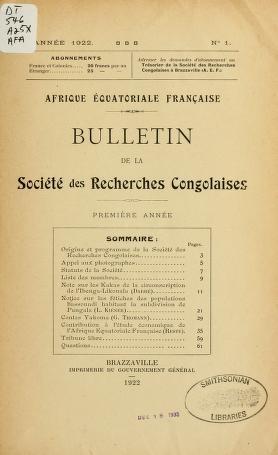 """Cover of """"Bulletin de la Société des recherches congolaises"""""""