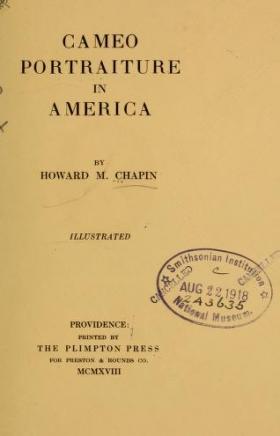 "Cover of ""Cameo portraiture in America"""