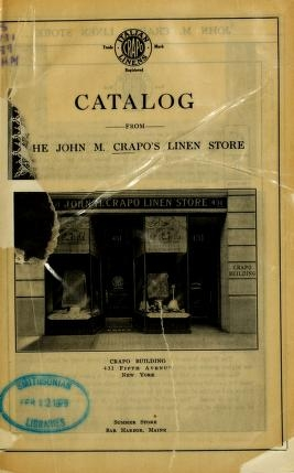 """Cover of """"Catalog from the John M. Crapo's Linen Store"""""""