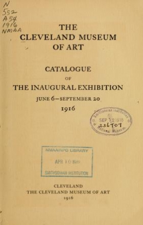 "Cover of ""Catalog of the inaugural exhibition, June 6-September 20, 1916"""