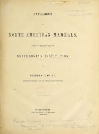 Cover of Catalogue North American mammals with drawings and proof of plates