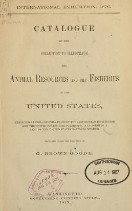 "Cover of ""Catalogue of the collection to illustrate the animal resources and the fisheries of the United States"""