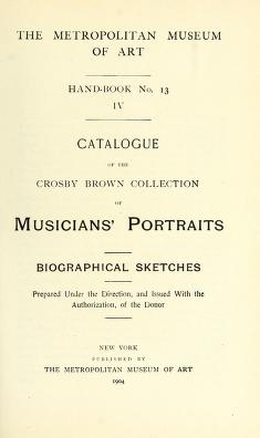 "Cover of ""Catalogue of the Crosby Brown collection of musicians' portraits"""