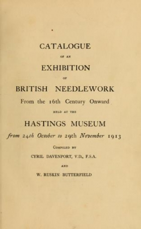 "Cover of ""Catalogue of an exhibition of British needlework from the 16th century onward"""