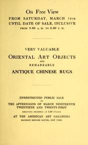 """Cover of """"Catalogue of extraordinary antique Chinese and Japanese art objects and a remarkable collection of antique Chinese rugs"""""""